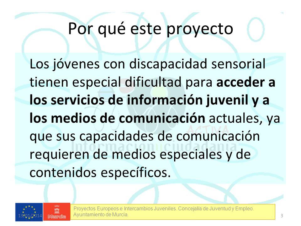 Proyectos Europeos e Intercambios Juveniles. Concejalía de Juventud y Empleo. Ayuntamiento de Murcia. Por qué este proyecto Los jóvenes con discapacid