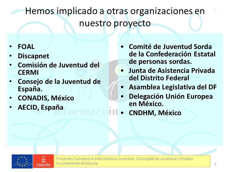 Proyectos Europeos e Intercambios Juveniles. Concejalía de Juventud y Empleo. Ayuntamiento de Murcia. Hemos implicado a otras organizaciones en nuestr
