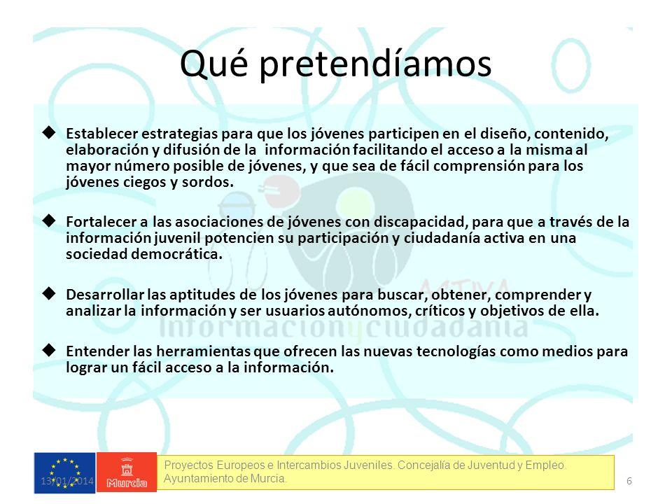Proyectos Europeos e Intercambios Juveniles. Concejalía de Juventud y Empleo. Ayuntamiento de Murcia. Qué pretendíamos Establecer estrategias para que