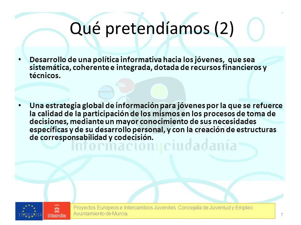 Proyectos Europeos e Intercambios Juveniles. Concejalía de Juventud y Empleo. Ayuntamiento de Murcia. Desarrollo de una política informativa hacia los