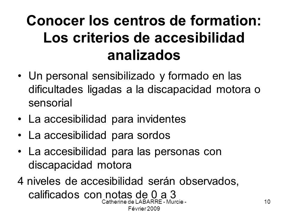 Catherine de LABARRE - Murcie - Février 2009 10 Conocer los centros de formation: Los criterios de accesibilidad analizados Un personal sensibilizado