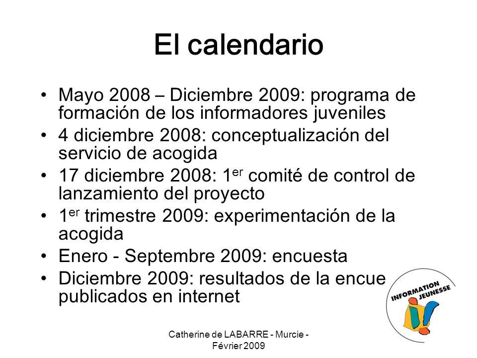Catherine de LABARRE - Murcie - Février 2009 14 El calendario Mayo 2008 – Diciembre 2009: programa de formación de los informadores juveniles 4 diciem