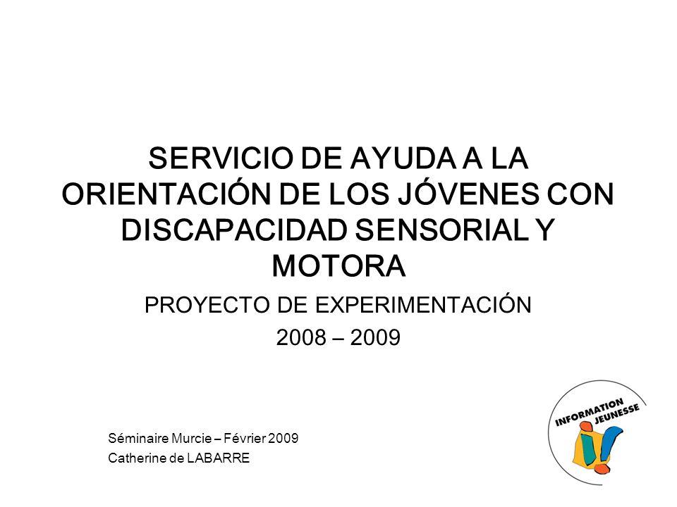 SERVICIO DE AYUDA A LA ORIENTACIÓN DE LOS JÓVENES CON DISCAPACIDAD SENSORIAL Y MOTORA PROYECTO DE EXPERIMENTACIÓN 2008 – 2009 Séminaire Murcie – Févri