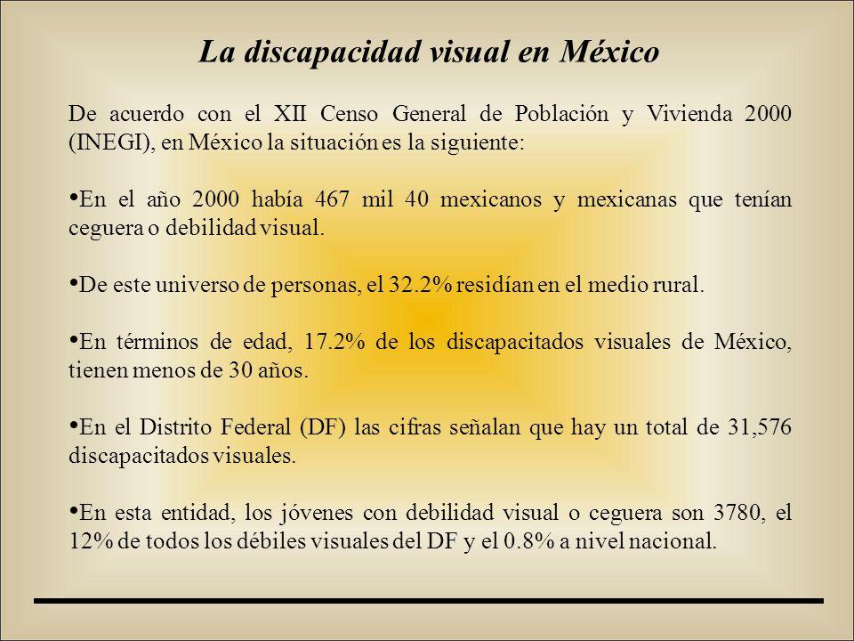 De acuerdo con el XII Censo General de Población y Vivienda 2000 (INEGI), en México la situación es la siguiente: En el año 2000 había 467 mil 40 mexicanos y mexicanas que tenían ceguera o debilidad visual.