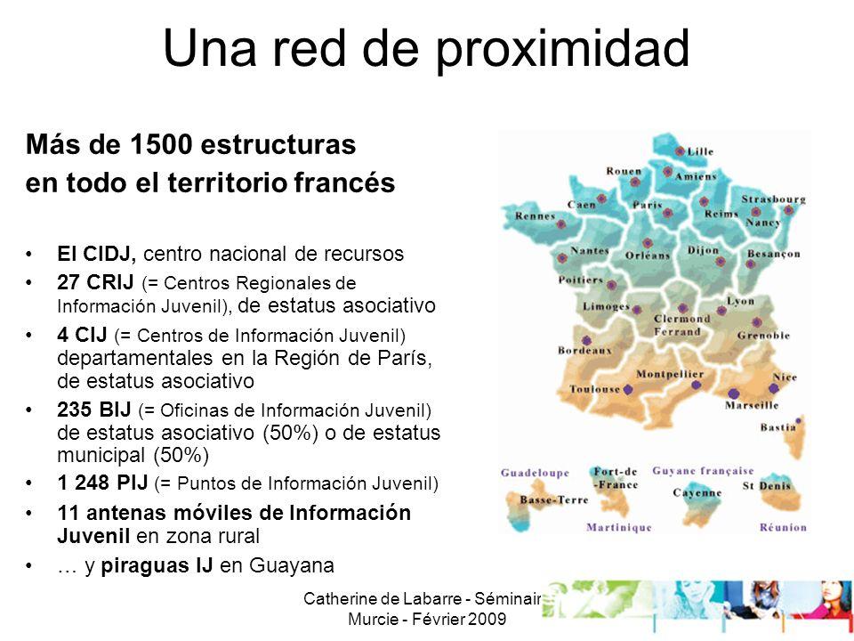Catherine de Labarre - Séminaire Murcie - Février 2009 6 Una red de proximidad Más de 1500 estructuras en todo el territorio francés El CIDJ, centro nacional de recursos 27 CRIJ (= Centros Regionales de Información Juvenil), de estatus asociativo 4 CIJ (= Centros de Información Juvenil) departamentales en la Región de París, de estatus asociativo 235 BIJ (= Oficinas de Información Juvenil) de estatus asociativo (50%) o de estatus municipal (50%) 1 248 PIJ (= Puntos de Información Juvenil) 11 antenas móviles de Información Juvenil en zona rural … y piraguas IJ en Guayana