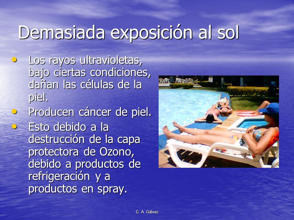 C. A. Gálvez Propiedades de los rayos solares Mata bacterias y gérmenes. Mata bacterias y gérmenes. Favorecen la producción de vitamina D. Favorecen l