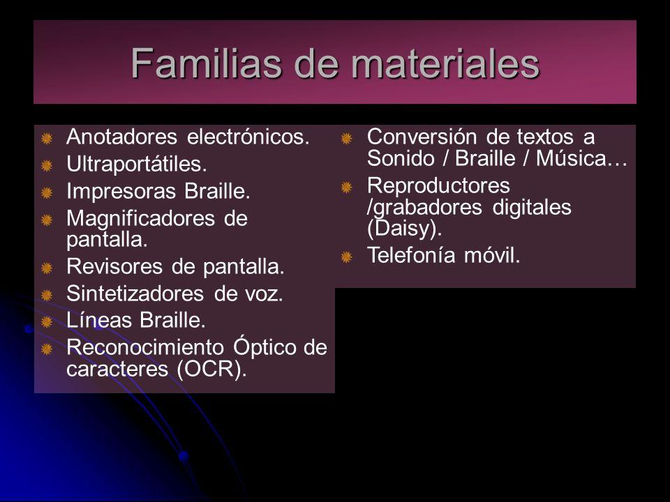 Familias de materiales Anotadores electrónicos. Ultraportátiles.