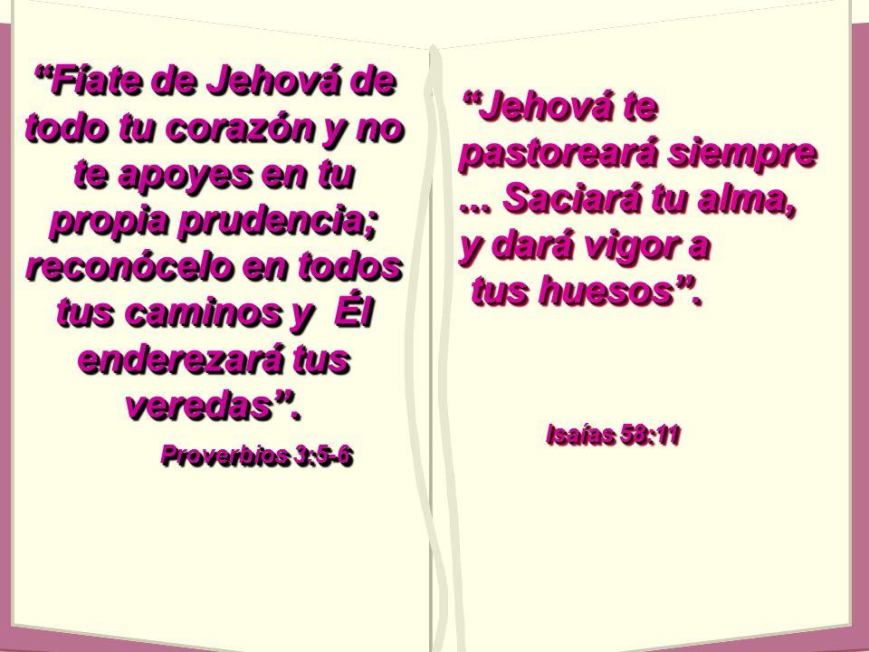Fíate de Jehová de todo tu corazón y no te apoyes en tu propia prudencia; reconócelo en todos tus caminos y Él enderezará tus veredas. Proverbios 3:5-