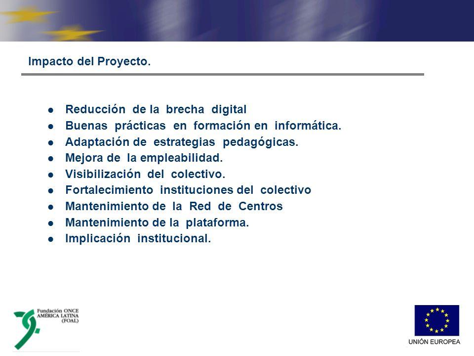 Impacto del Proyecto. Reducción de la brecha digital Buenas prácticas en formación en informática.