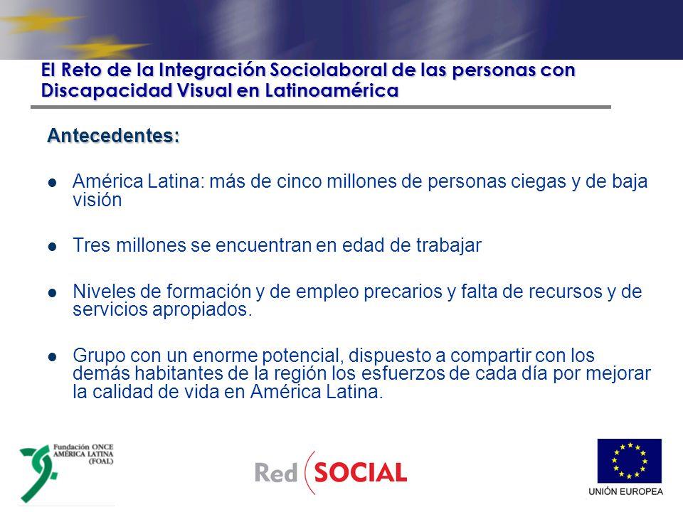 Antecedentes: América Latina: más de cinco millones de personas ciegas y de baja visión Tres millones se encuentran en edad de trabajar Niveles de formación y de empleo precarios y falta de recursos y de servicios apropiados.