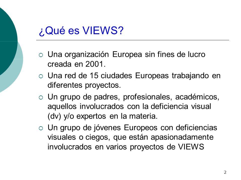 2 ¿Qué es VIEWS. Una organización Europea sin fines de lucro creada en 2001.
