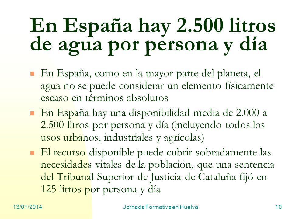 13/01/2014Jornada Formativa en Huelva10 En España hay 2.500 litros de agua por persona y día En España, como en la mayor parte del planeta, el agua no