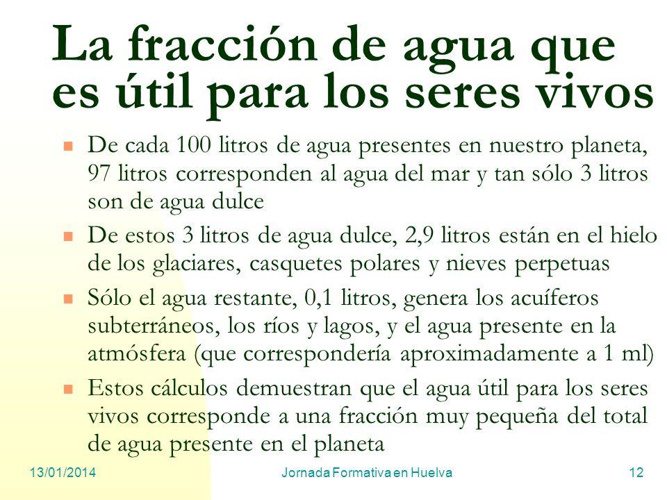 13/01/2014Jornada Formativa en Huelva12 La fracción de agua que es útil para los seres vivos De cada 100 litros de agua presentes en nuestro planeta,