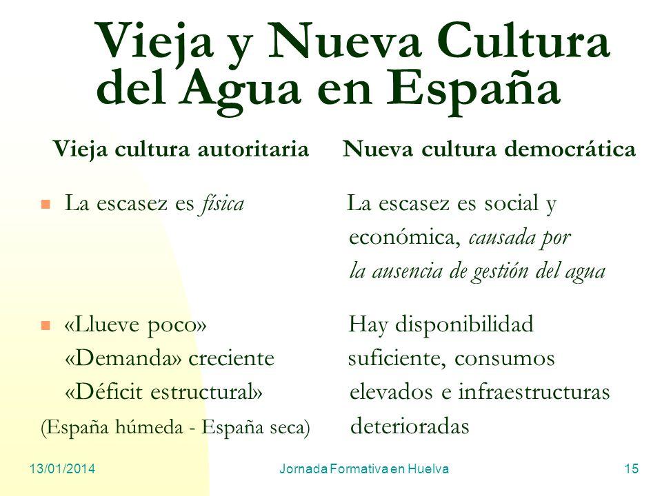13/01/2014Jornada Formativa en Huelva15 Vieja y Nueva Cultura del Agua en España Vieja cultura autoritaria Nueva cultura democrática La escasez es fís