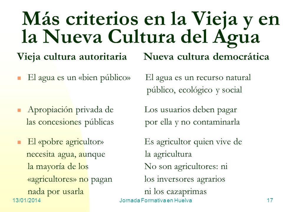 13/01/2014Jornada Formativa en Huelva17 Más criterios en la Vieja y en la Nueva Cultura del Agua Vieja cultura autoritaria Nueva cultura democrática E