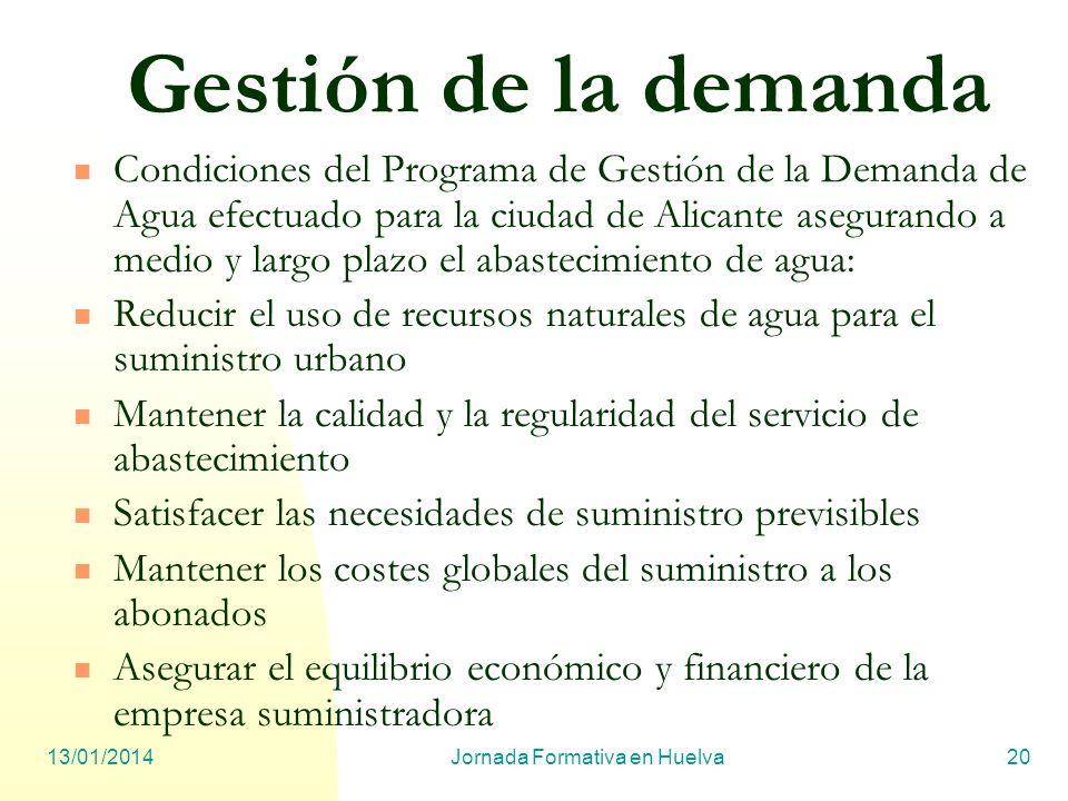 13/01/2014Jornada Formativa en Huelva20 Gestión de la demanda Condiciones del Programa de Gestión de la Demanda de Agua efectuado para la ciudad de Al