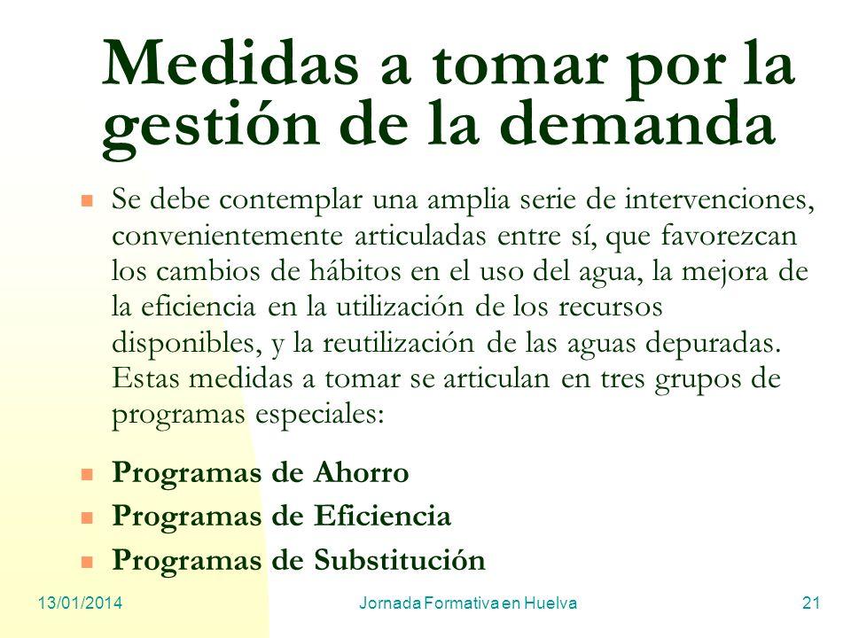 13/01/2014Jornada Formativa en Huelva21 Medidas a tomar por la gestión de la demanda Se debe contemplar una amplia serie de intervenciones, convenient