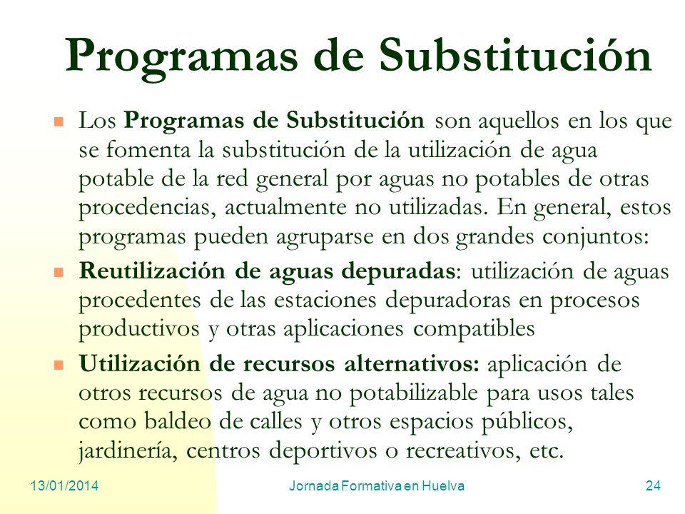 13/01/2014Jornada Formativa en Huelva24 Programas de Substitución Los Programas de Substitución son aquellos en los que se fomenta la substitución de