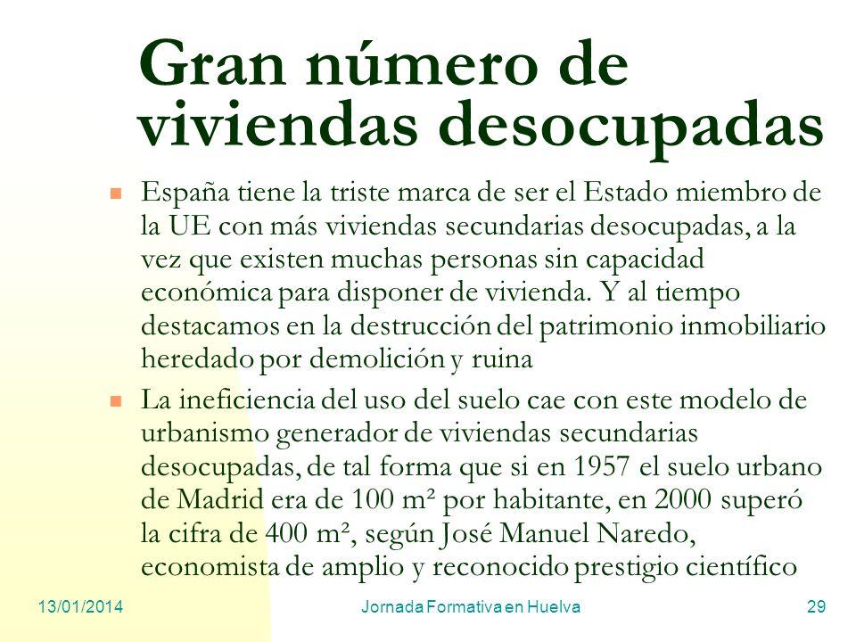 13/01/2014Jornada Formativa en Huelva29 Gran número de viviendas desocupadas España tiene la triste marca de ser el Estado miembro de la UE con más vi