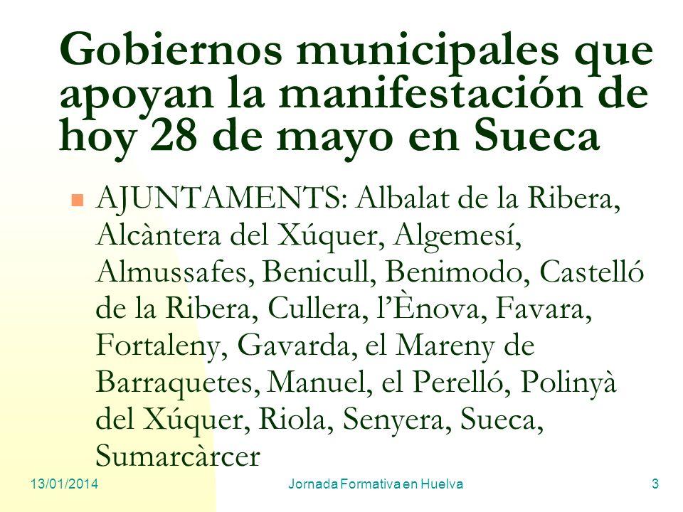 13/01/2014Jornada Formativa en Huelva3 Gobiernos municipales que apoyan la manifestación de hoy 28 de mayo en Sueca AJUNTAMENTS: Albalat de la Ribera,