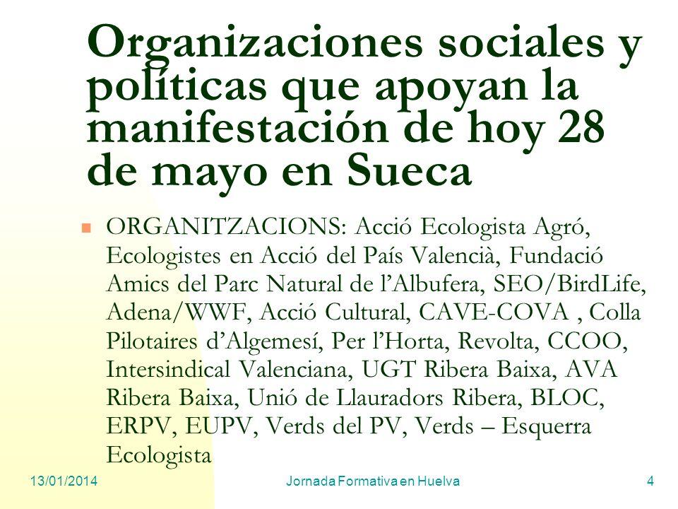 13/01/2014Jornada Formativa en Huelva4 Organizaciones sociales y políticas que apoyan la manifestación de hoy 28 de mayo en Sueca ORGANITZACIONS: Acci