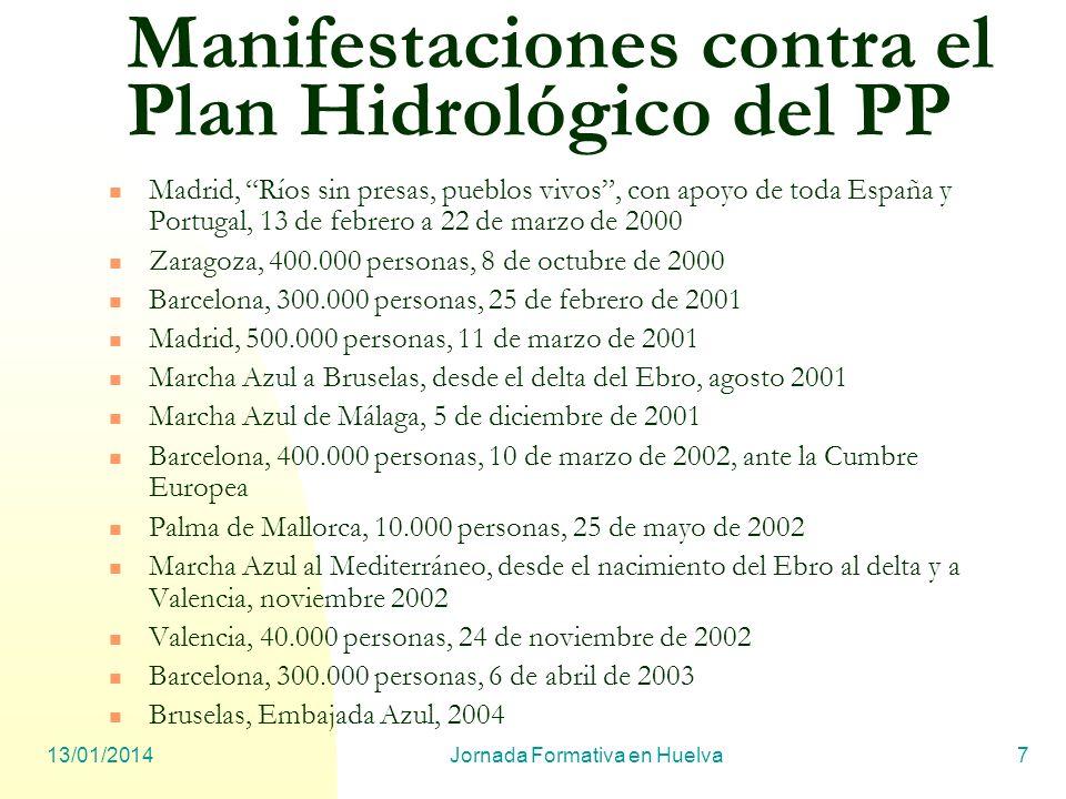 13/01/2014Jornada Formativa en Huelva7 Manifestaciones contra el Plan Hidrológico del PP Madrid, Ríos sin presas, pueblos vivos, con apoyo de toda Esp