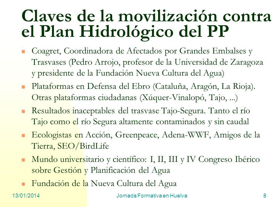 13/01/2014Jornada Formativa en Huelva8 Claves de la movilización contra el Plan Hidrológico del PP Coagret, Coordinadora de Afectados por Grandes Emba