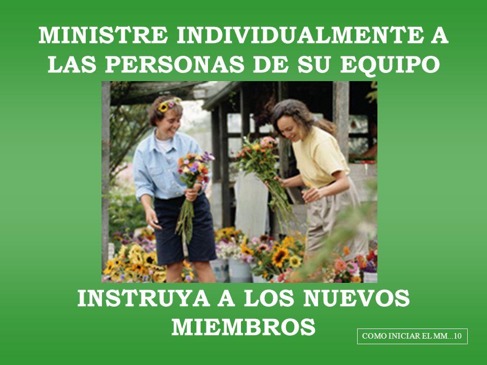 MINISTRE INDIVIDUALMENTE A LAS PERSONAS DE SU EQUIPO INSTRUYA A LOS NUEVOS MIEMBROS COMO INICIAR EL MM...10