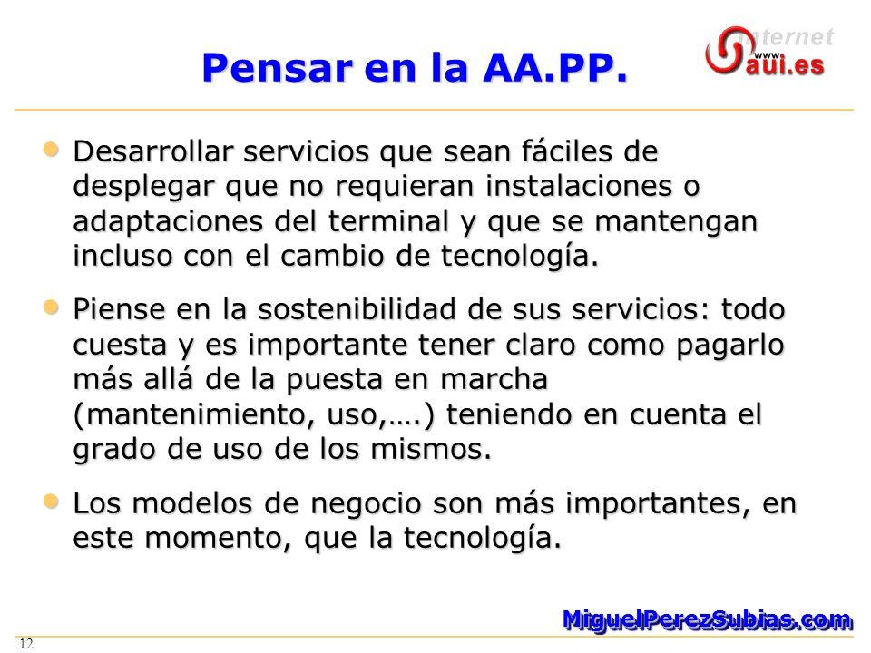 12 MiguelPerezSubias.comMiguelPerezSubias.com Pensar en la AA.PP. Desarrollar servicios que sean fáciles de desplegar que no requieran instalaciones o