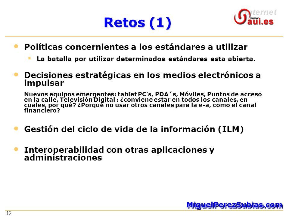 13 MiguelPerezSubias.comMiguelPerezSubias.com Retos (1) Políticas concernientes a los estándares a utilizar La batalla por utilizar determinados estándares esta abierta.