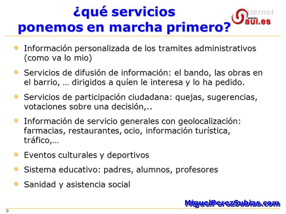 9 MiguelPerezSubias.comMiguelPerezSubias.com 9 ¿qué servicios ponemos en marcha primero.