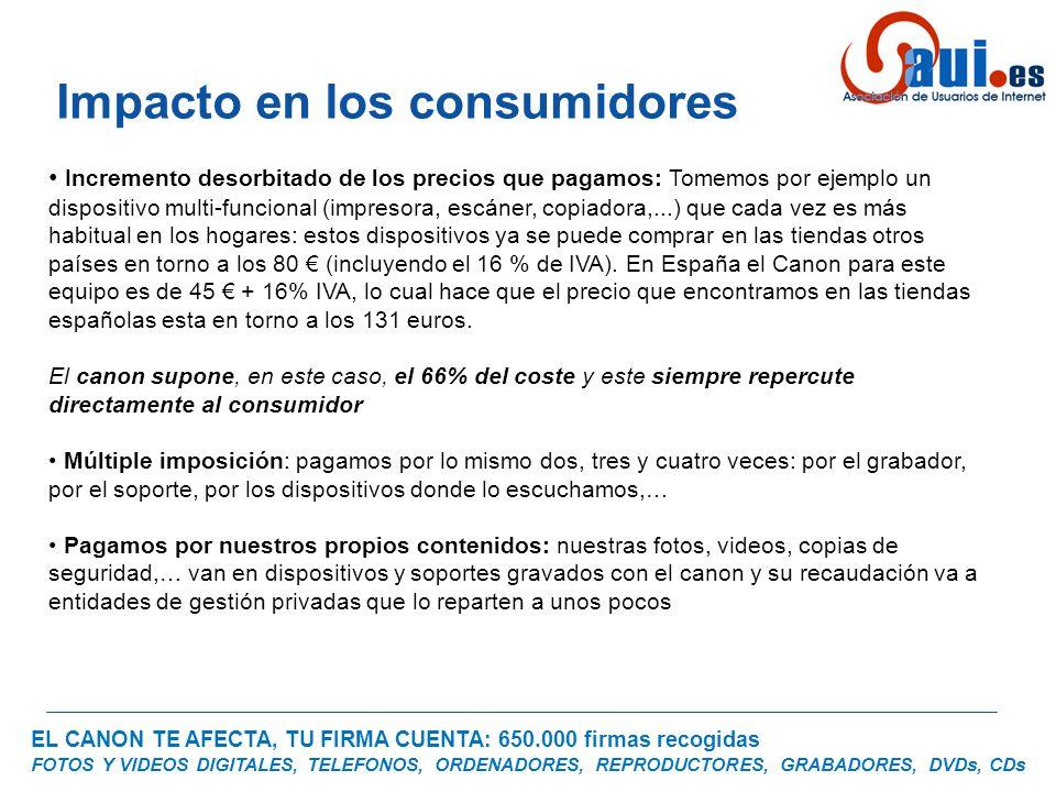 EL CANON TE AFECTA, TU FIRMA CUENTA: 650.000 firmas recogidas FOTOS Y VIDEOS DIGITALES, TELEFONOS, ORDENADORES, REPRODUCTORES, GRABADORES, DVDs, CDs Miembros de la plataforma :