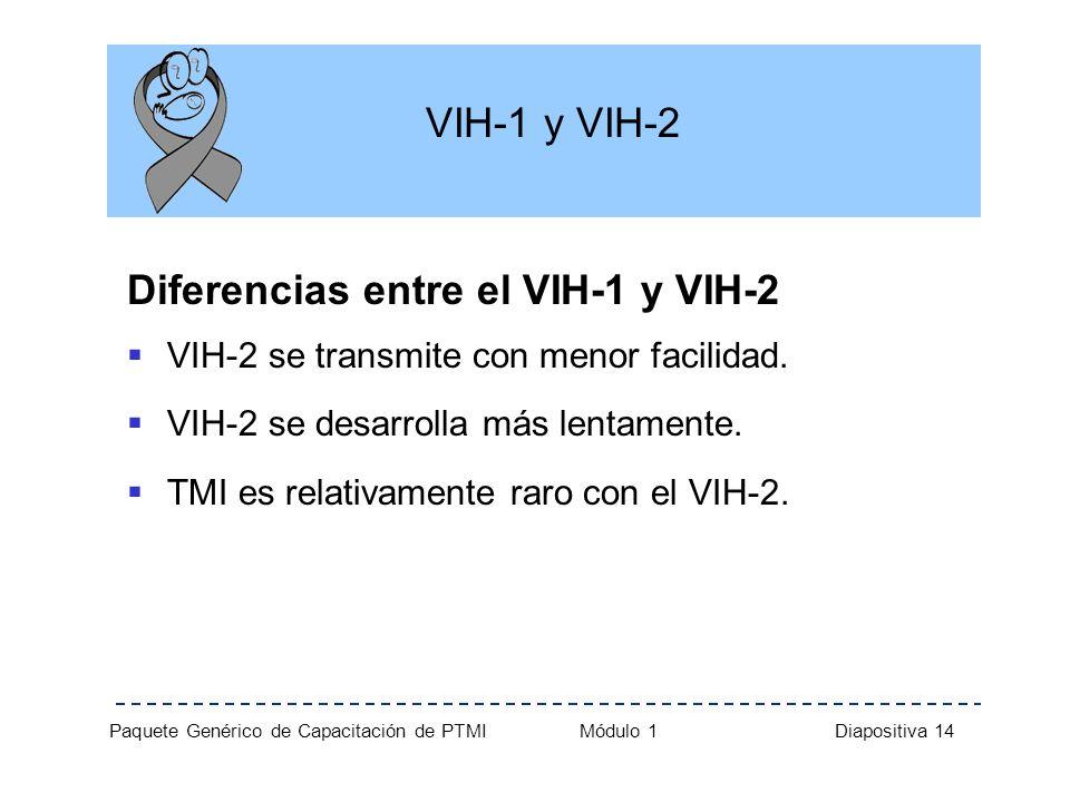 Paquete Genérico de Capacitación de PTMI Módulo 1 Diapositiva 14 VIH-1 y VIH-2 Diferencias entre el VIH-1 y VIH-2 VIH-2 se transmite con menor facilid