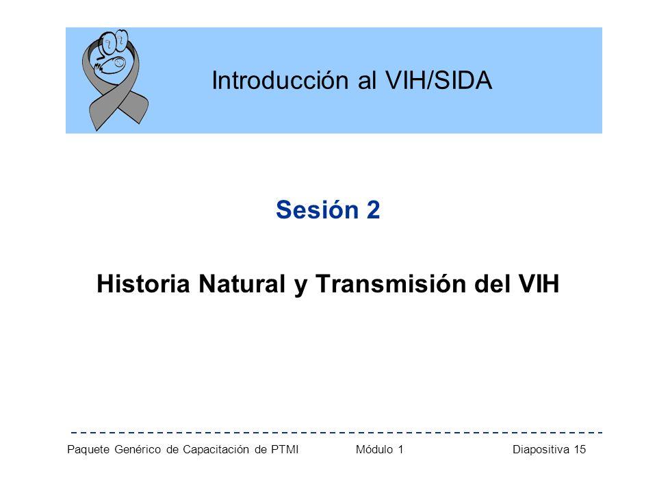 Paquete Genérico de Capacitación de PTMI Módulo 1 Diapositiva 15 Introducción al VIH/SIDA Sesión 2 Historia Natural y Transmisión del VIH