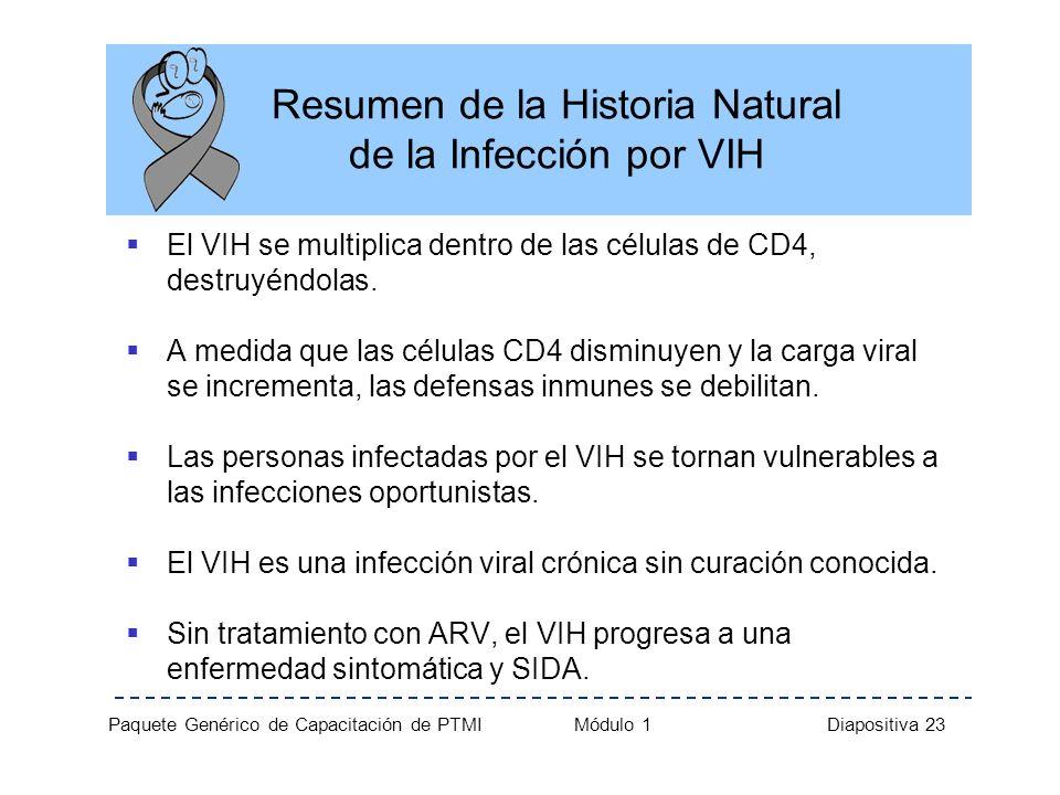 Paquete Genérico de Capacitación de PTMI Módulo 1 Diapositiva 23 Resumen de la Historia Natural de la Infección por VIH El VIH se multiplica dentro de