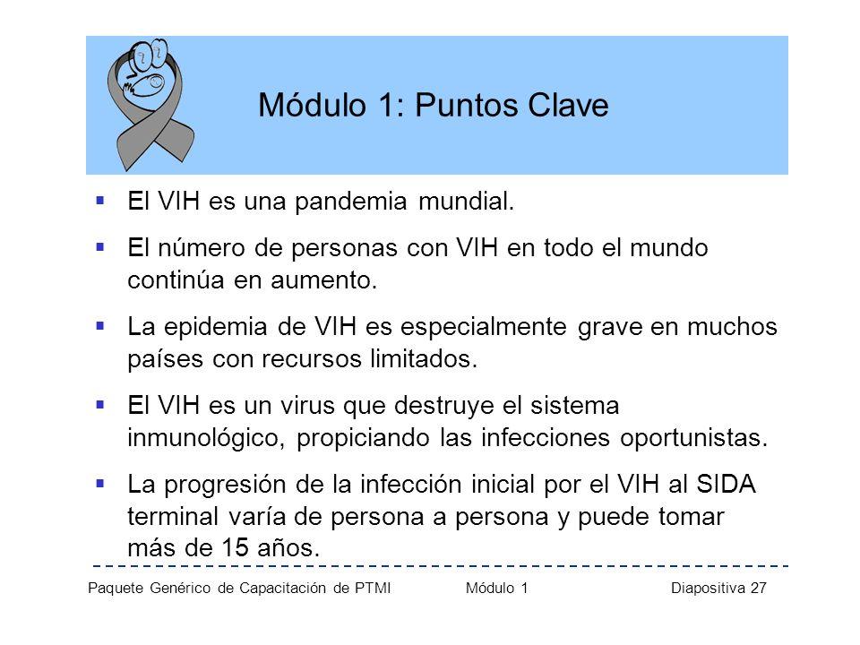 Paquete Genérico de Capacitación de PTMI Módulo 1 Diapositiva 27 Módulo 1: Puntos Clave El VIH es una pandemia mundial. El número de personas con VIH