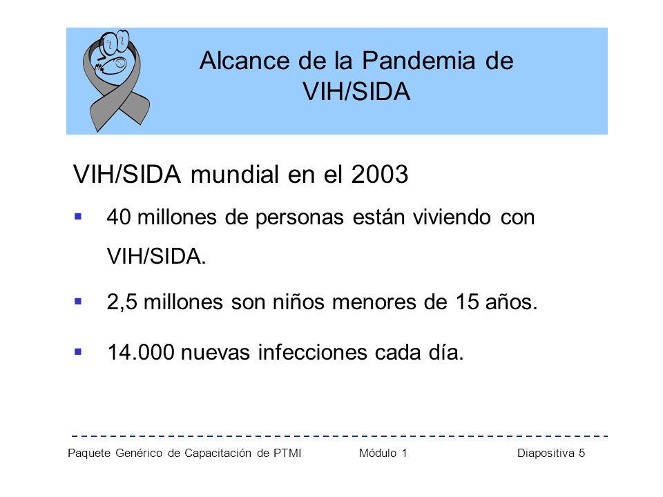 Paquete Genérico de Capacitación de PTMI Módulo 1 Diapositiva 16 Historia Natural de la Infección por VIH