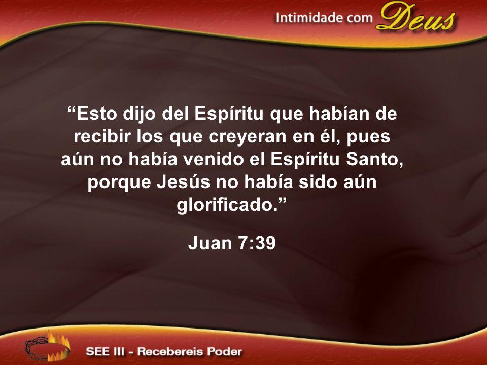 Esto dijo del Espíritu que habían de recibir los que creyeran en él, pues aún no había venido el Espíritu Santo, porque Jesús no había sido aún glorif