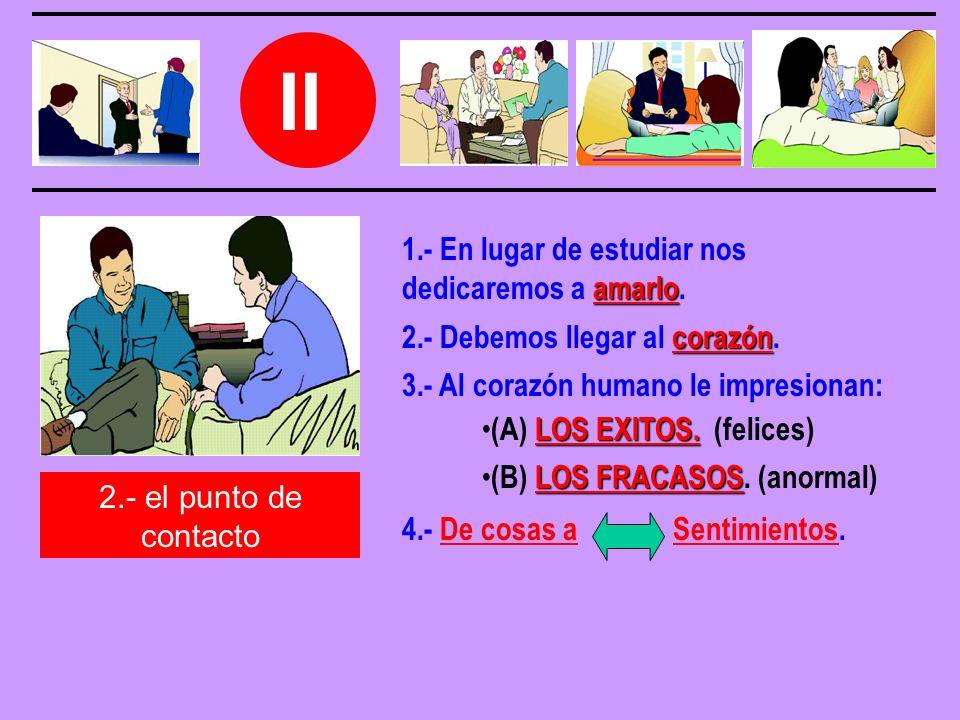 II 2.- el punto de contacto 2.- Debemos llegar al c cc corazón.