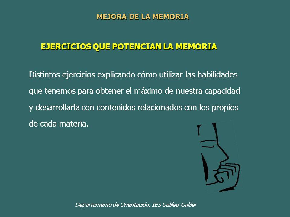 EJERCICIOS QUE POTENCIAN LA MEMORIA Departamento de Orientación. IES Galileo Galilei Distintos ejercicios explicando cómo utilizar las habilidades que