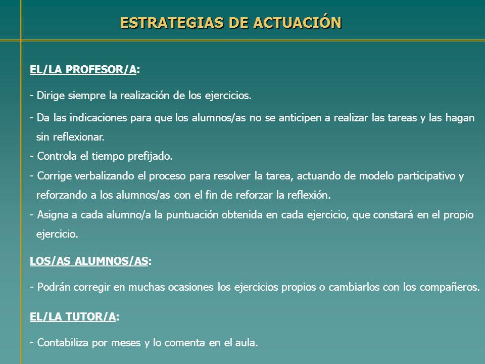 ESTRATEGIAS DE ACTUACIÓN EL/LA PROFESOR/A: - Dirige siempre la realización de los ejercicios. - Da las indicaciones para que los alumnos/as no se anti