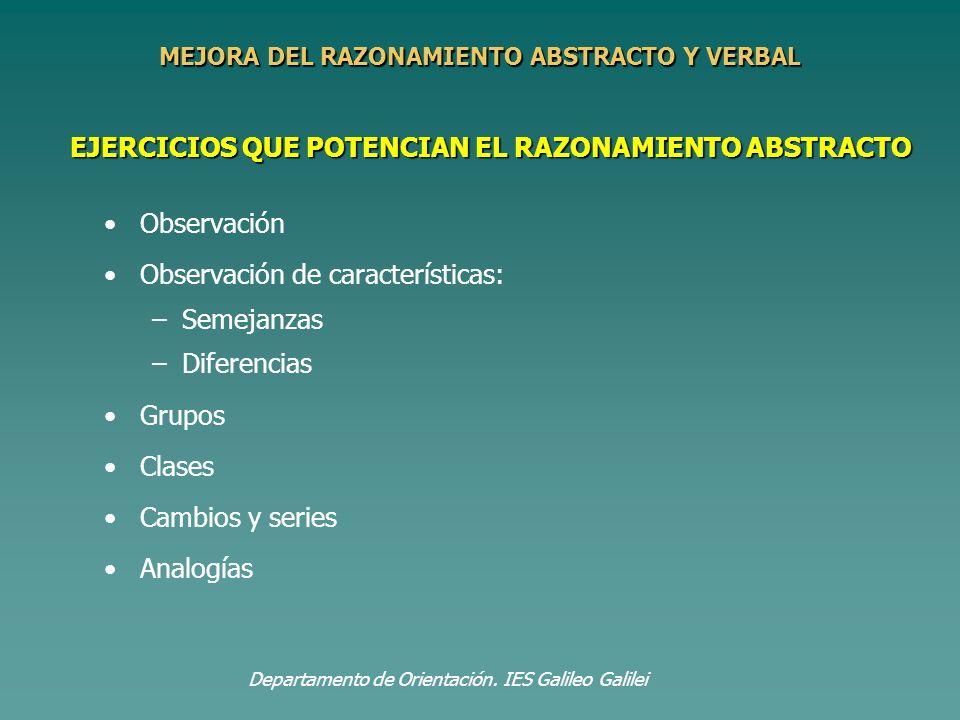 EJERCICIOS QUE POTENCIAN EL RAZONAMIENTO ABSTRACTO Observación Observación de características: – –Semejanzas – –Diferencias Grupos Clases Cambios y se