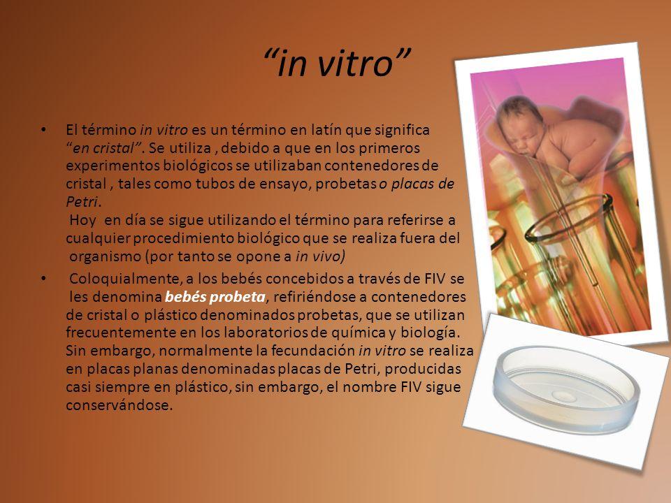 in vitro El término in vitro es un término en latín que significaen cristal. Se utiliza, debido a que en los primeros experimentos biológicos se utili