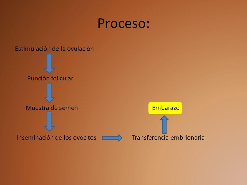 Proceso: Estimulación de la ovulación Punción folicular Muestra de semen Embarazo Inseminación de los ovocitos Transferencia embrionaria