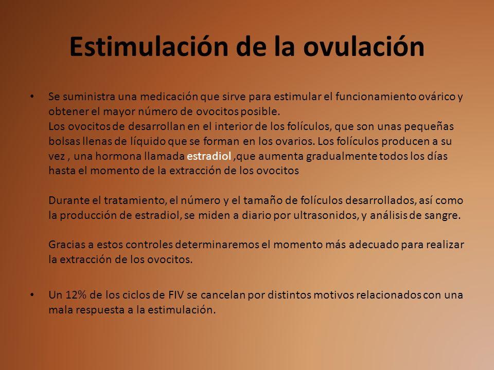 Estimulación de la ovulación Se suministra una medicación que sirve para estimular el funcionamiento ovárico y obtener el mayor número de ovocitos pos
