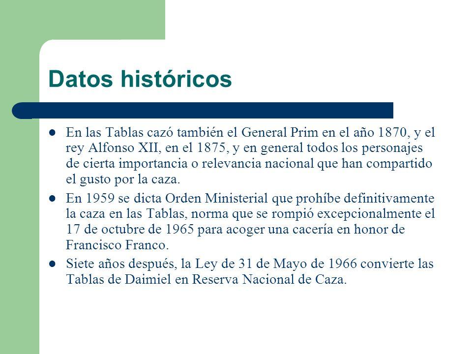 Datos históricos En las Tablas cazó también el General Prim en el año 1870, y el rey Alfonso XII, en el 1875, y en general todos los personajes de cierta importancia o relevancia nacional que han compartido el gusto por la caza.