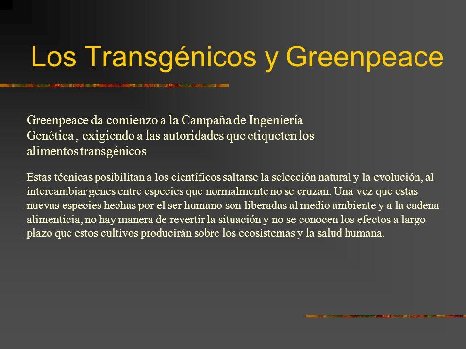Los Transgénicos y Greenpeace Greenpeace da comienzo a la Campaña de Ingeniería Genética, exigiendo a las autoridades que etiqueten los alimentos tran