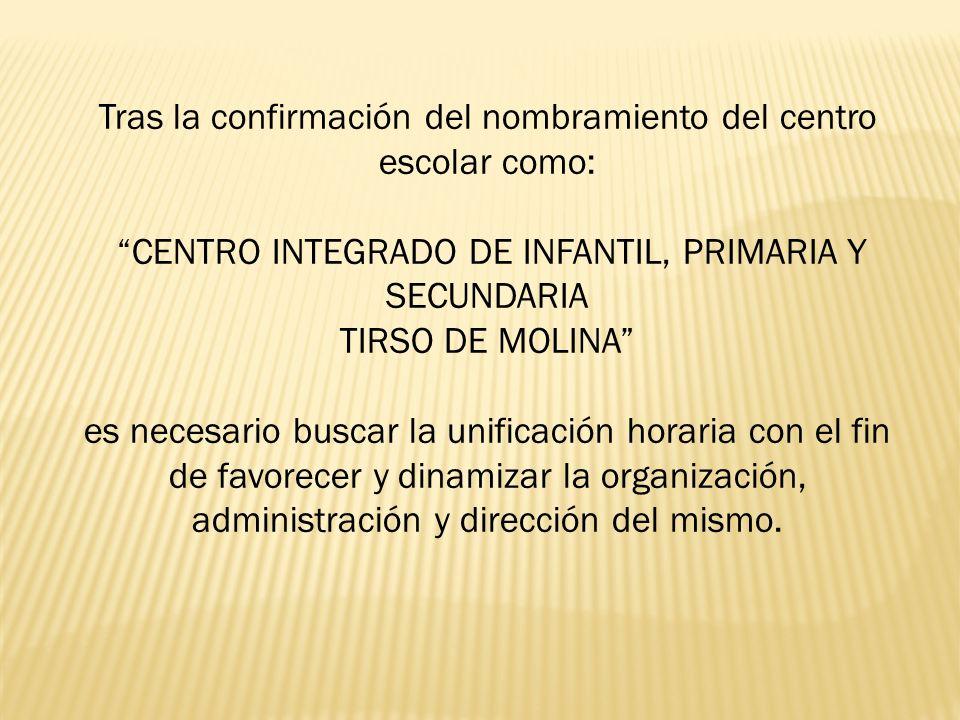 Tras la confirmación del nombramiento del centro escolar como: CENTRO INTEGRADO DE INFANTIL, PRIMARIA Y SECUNDARIA TIRSO DE MOLINA es necesario buscar