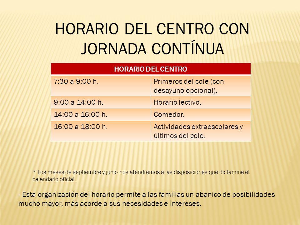 HORARIO DEL CENTRO 7:30 a 9:00 h.Primeros del cole (con desayuno opcional). 9:00 a 14:00 h.Horario lectivo. 14:00 a 16:00 h.Comedor. 16:00 a 18:00 h.A