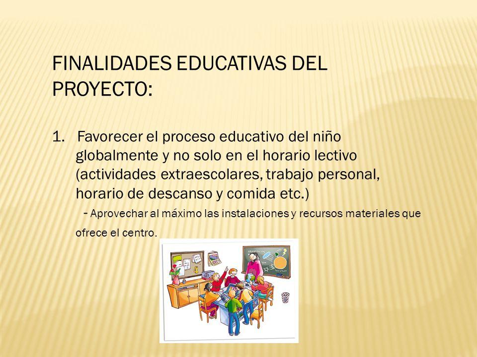 FINALIDADES EDUCATIVAS DEL PROYECTO: 1. Favorecer el proceso educativo del niño globalmente y no solo en el horario lectivo (actividades extraescolare